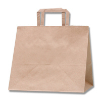 HEIKO/シモジマ 手提げ紙袋 Hフラットチャームバッグ 300-1 未晒無地 1袋(50枚入)