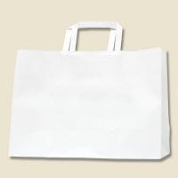 HEIKO/シモジマ 手提げ紙袋 Hフラットチャームバッグ 340-1 白無地 1袋(50枚入)