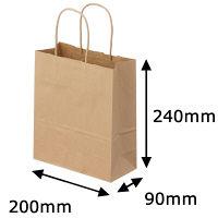丸紐クラフト紙手提袋薄型エコノミー200×240×90 茶 1セット(100枚:50枚入×2袋)
