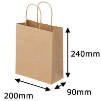 丸紐クラフト紙手提袋薄型エコノミー200×240×90 茶 1箱(300枚:50枚×6袋)