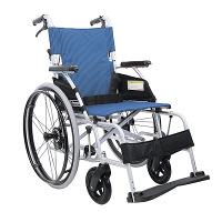 カワムラサイクル BMLシリーズ 車いす 青ストライプ BML22-40SB 自走用 アルミ製 背折れ式 介助ブレーキ付き