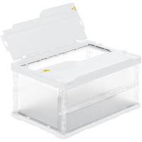 アスクル「現場のチカラ」 軽量薄型折りたたみコンテナ フタ一体型 42.5L ホワイト 1セット(100個:5個入×20箱)