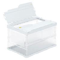 アスクル「現場のチカラ」 軽量薄型折りたたみコンテナ フタ一体型 51.3L ホワイト 1セット(100個:5個入×20箱)