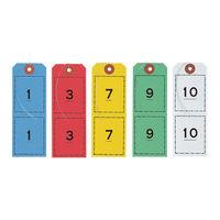連番荷札 1~100 5色(赤・青・緑・黄・白) BF-105 1箱(500枚入) オープン工業