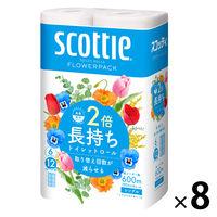 トイレットペーパー 6ロール 古紙配合 花の香り シングル 100m スコッティフラワーパック2倍巻き 1ケース(8パック)1ケース(8パック 日本製紙クレシア