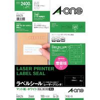 エーワン ラベルシール 表示・宛名ラベル レーザープリンタ マット紙 白 A4 24面 1袋(100シート入) 66424(取寄品)