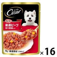 Cesar(シーザー) ドッグフード 厳選ビーフ入り 野菜入り 70g 1箱(16袋) マースジャパン