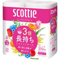 トイレットペーパー 日本製紙クレシア スコッティ フラワーパック ダブル 3倍長持ち 1パック(4個入)