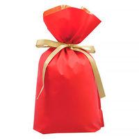 梨地リボン付き巾着(マチ付き) LL レッド 1袋(20枚入) カクケイ