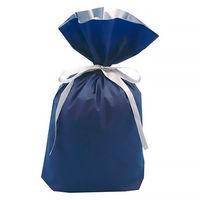 梨地リボン付き巾着(マチ付き) LL ネイビー 1袋(20枚入) カクケイ