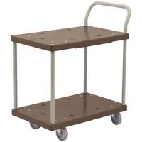 静音樹脂台車(四輪自在) 2段タイプ ブラウン アスクル 「現場のチカラ」