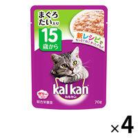 kalkan(カルカン) キャットフード パウチ 15歳から まぐろとたい 70g 1セット(4袋) マースジャパン