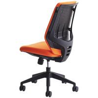 中央可鍛工業 SKOLD(スコルド) オフィスチェア 樹脂メッシュ 肘無し 背パッド付 オレンジ1脚(2梱包)