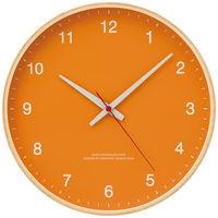 Lemnos(タカタレムノス) 木枠デザイン電波時計 [電波 掛け 時計] オレンジ 101451-3 1個