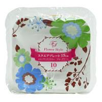 スクエアプレート(紙皿) エキゾチックフラワー BG 15×15cm(10枚入) パーティ用品