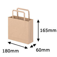 平紐クラフト紙手提袋薄型エコノミー 180×165×60 茶 1箱(300枚:50枚×6袋)