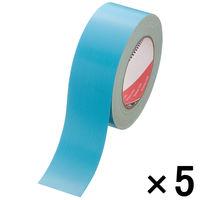 寺岡製作所 カラー布テープ カラーオリーブテープ No.145 0.31mm厚 空色(水色) 幅50mm×長さ25m巻 1セット(5巻:1巻×5)