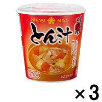 ひかり味噌 カップみそ汁 とん汁 3食