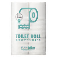 2倍巻 トイレットペーパー 6ロール入×8パック 再生紙 ダブル 60m オリジナルトイレットロール 1箱(48ロール入)