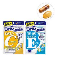 DHC(ディーエイチシー) ビタミンC(ハードカプセル)+天然ビタミンE大豆 60日分セット  サプリメント