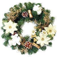 クリスマスリースM ホワイトポインセチア