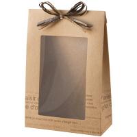 カフェオレ窓付ギフトボックス M 茶 1パック(10枚入)ラッピング用品 ヘッズ