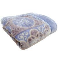 2枚あわせ毛布 アラベスク ブルー