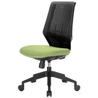 中央可鍛工業 スコルド(SKOLD) オフィスチェア ブラック樹脂メッシュ 肘無し グリーン YC-210B-GR 1脚 (取寄品)