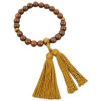 男性用数珠 素挽き紫檀 22玉 虎目石(タイガーアイ)仕立 正絹頭付房 中郷 1個