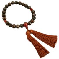 男性用数珠 縞黒檀 22玉 瑪瑙(メノウ)仕立 正絹頭付房 中郷 1個 (取寄品)