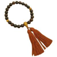 男性用数珠 縞黒檀 22玉 虎目石(タイガーアイ)仕立 正絹頭付房 中郷 1個 (取寄品)