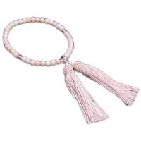 女性用数珠 上新ピンク珊瑚 Pハリ仕立 人絹頭付房 中郷 1個