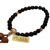 男性用数珠 黒檀 Pハリ 27玉 人絹頭房 中郷 1個 (取寄品)