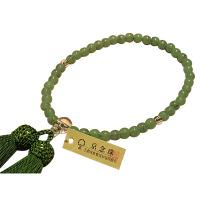 女性用数珠 新雲ヒスイ 尺玉 Pハリ仕立 人絹頭房 中郷 1個 (取寄品)