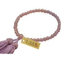 女性用数珠 新藤雲石 7mm 共仕立 人絹頭房 中郷 1個 (取寄品)