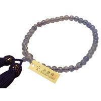 女性用数珠 新ブルークォーツ 7mm 共仕立 人絹頭房 中郷 1個 (取寄品)