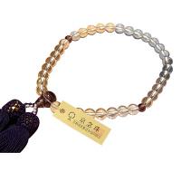 女性用数珠 ハリ水晶 7mm ハリ紫水晶仕立 人絹頭房 中郷 1個 (取寄品)