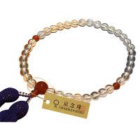 女性用数珠 水晶 7mm メノウ仕立 正絹頭房 中郷 1個 (取寄品)