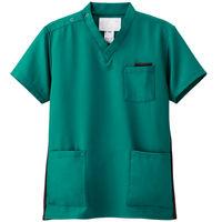 ナガイレーベン スクラブ(男女兼用) 医療白衣 半袖 ピーコックグリーン L RT-5062 (取寄品)