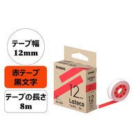 カシオ計算機 ラテコ 赤テープ(黒文字) 12mm 1個(8m巻) XB-12RD