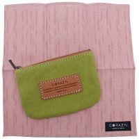 【アウトレット】CORAZYs 和紙洗える脂取りハンカチーフピンク×マルチ帆布ポーチグリーン 1袋(各1個入)