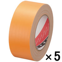 【ガムテープ】布粘着テープ No.145 0.31mm厚 50mm×25m オレンジ オリーブテープ 寺岡製作所 1セット(5巻入)