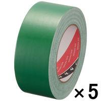 【ガムテープ】布粘着テープ No.145 0.31mm厚 50mm×25m 緑 オリーブテープ 寺岡製作所 1セット(5巻入)