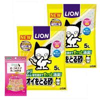 【期間限定特別価格】ペットキレイ ニオイをとる砂 5L 2袋+PETKISS(ペットキッス) オーラルケア カニ風味 15g 1袋 ライオン商事