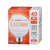【アウトレット】ボール電球形LED電球 電球色 40形相当 465lm E26口金 LDG4L-G AH9 1個 オーム電機