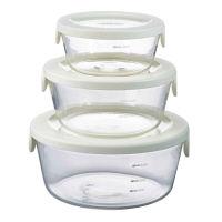 耐熱ガラス製保存容器 丸セット ホワイト