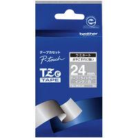 ブラザー ピータッチテープ 24mm ライトグレー(白文字) 1個 TZe-MQL55