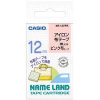 カシオ ネームランドテープ アイロン布テープ 12mm ピンク(黒文字)1個 XR-12VPK