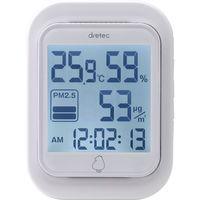 ドリテック PM2.5温湿度計「エルモ二」 白 O-700WT 1個