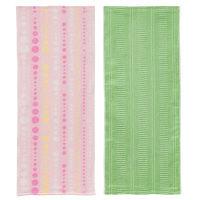 ストレッチヘアータオル 1セット(2枚:ピンクグリーン各1枚) 林